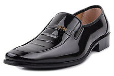 Men's Work Business Oxford Leather Shoes Slip On Dress/Casual Loafers Black