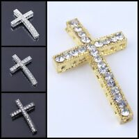 Hot Curved Side Ways Crystal Rhinestones Cross Bracelet Connector Charm Bead