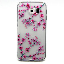 New Flower Print Clear Transparent Gel Soft Rubber TPU Back Case Cover For Phone