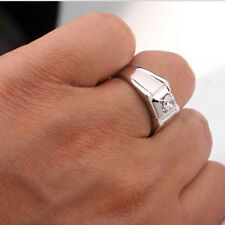 Free Shipping 18k White Gold Plated Crystal Men Band Ring