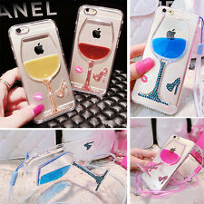 Stand Liquid Hard Back Case Cover For Apple iPhone Transparent Wristlet Bling