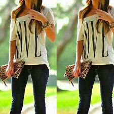 Summer Sexy Fashion Women Casual White Short Sleeve Tops Cotton T- Shirt Blouse