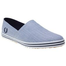 New Mens Fred Perry Blue Panama Weave Textile Shoes Canvas Slip On