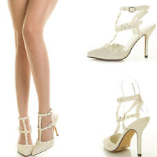 Ivory Pointy Toe Stud Strappy Cage Gladiator Stiletto Heel Womens Pump Sandal US