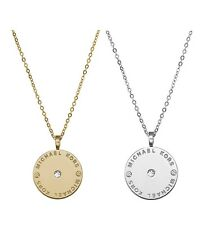 Fashion Michael Kors Logo Plate Disc Pendant Crystal Statement Chain Necklace