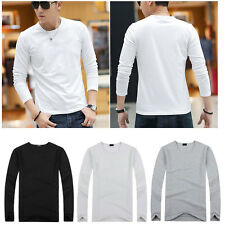 Mens Fashion Round & V-neck Slim Fit Long Sleeve T-Shirt Loose Casual Shirt Top