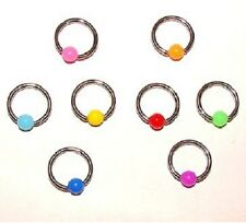 New Set of 8 x Neon Captive Bead Rings CBR BCR Nipple,Lip,Ear,Tragus,Helix,
