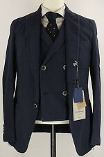 NWT Fugato - Navy Cotton/Wool Three Piece Suit, Sz 38, Made in Italy, VERY Slim