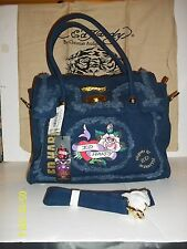 ED HARDY-FREYDIE FRAYED PATCHED SATCHELS-BLUE OR PINK-4.25 DEEP