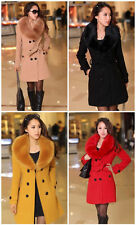 HOT!!! Women's Wool Faux Fur Trench Parka Double-Breasted Winter Coat Jacket