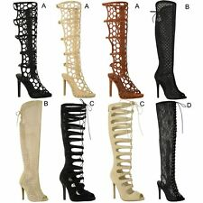 LADIES WOMENS LACE UP KNEE HIGH CUT OUT SHOES HEELS GLADIATOR SANDALS SIZE