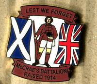 NEW McCRAE'S BATTALION LEST WE FORGET ENAMEL BADGE RAISED 1914 (1)