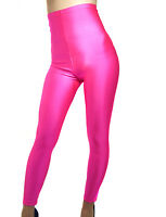 HIGH WAISTED NEON PINK SPANDEX LEGGINGS XS-XXXL Tall