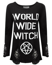 Killstar WWW Knit Sweater Top Black Goth Grunge Jumper World Wide Witch