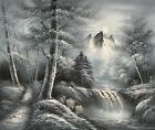 "BLACK & WHITE LANDSCAPE LAKE SCENE LARGE ART ORIGINAL OIL PAINTING GIFT 36"" 48"""