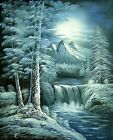 "LANDSCAPE LAKE MOUNTAIN TREE SCENE LARGE ART ORIGINAL OIL PAINTING GIFT 36"" 48"""