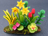 1:12 Scale Daffodils & Tulips Dolls House Miniature Flower Garden Bed Accessory