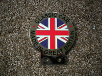 A NEW UNION JACK CHROME AND ENAMEL CAR BADGE MADE IN GB