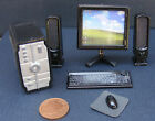 1:12 Scale Black Dolls House Miniature Full Computer System Accessory