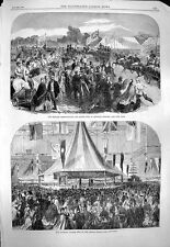 Old Print 1863 Fire Brigade Leighton Buzzard College Fete Crystal 153P143