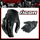 ICON PURSUIT GLOVE LEATHER GLOVES STEALTH BLACK SMOOTH MOTORCYCLE CHOPPER QUAD