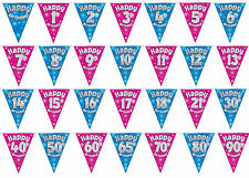 Happy Birthday Bunting Pink Blue Party Banners 11 Flags Sparkle All Ages 3.9M OK