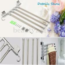 Bathroom Kitchen Wall Mounted Rotating Towel Rail 4 Tiers Stainless Rack Hold
