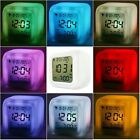 New LED 7 Color Change Glowing Digital Alarm Thermometer Clock Free Post