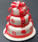 1;12 Scale White & Red 3 Tier Wedding Cake Dolls House Miniature Accessory ZG