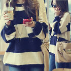 Womens Casual Wide Stripes Long Sleeves Crew Neck Knitwear Jumper Sweater 6139