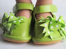 Toddler Shoes - Squeaky Shoes - Green with Bow, Up to Size 7 for Toddlers