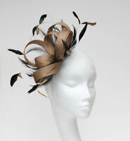 Metallic Gold/Black Fascinator Hat for Weddings/Ascot/Proms With Headband
