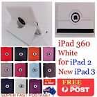 THE NEW IPAD 2ND 3RD 4TH GEN WHITE 360° ROTATING PU LEATHER SMART CASE COVER 4G