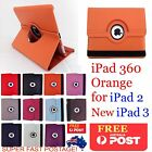 THE NEW IPAD 2ND 3RD 4TH GEN ORANGE 360 ROTATING PU LEATHER SMART CASE COVER 4G