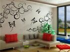 Butterfly flower vine stickers wall Decal Removable Art Vinyl Decor Home Nursery