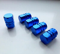 Blue Hex Alloy Dust Valve Caps for Peugeot 106 107 1007 206 207 306 307 406 407
