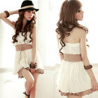 Sexy Sweet Women Strapless Tiered Lace Crochet Hem Mini Dress White Lace Up Belt
