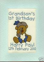 Embroidered Personalised 1st Birthday Greeting Cards Grandson, Son, Dated
