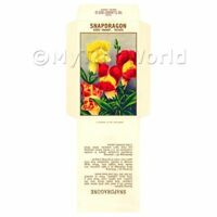 2 Dolls House Flower Seed Packets - Snapdragon