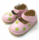 Girl's Mary Jane Squeaky Shoes Pink w Green Polka Dots