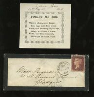 SCOTLAND QV 1d RED MOURNING COVER MAY 25..FORGET ME NOT