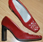 SPYR Italy RED fur hair Nordic embroidered block heels shoes PUMPS 40 8.5 $499