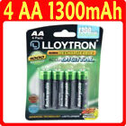 4 x LLOYTRON AA 1300 mAh Rechargeable Batteries NIMH