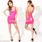 sexy Korea Womens Open back strap cross back mini club party dress Small PINK