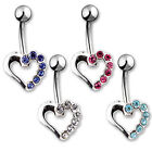 SILVER HOLLOW HEART W/ CLEAR CZ ACCENT BELLY NAVAL RING