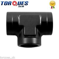 """AN-6 (6AN 9/16"""" UNF) Female Tee T Adapter Fitting Black"""