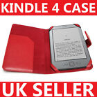 RED LEATHER CASE COVER WALLET FOR AMAZON KINDLE 4 4TH GENERATION LATEST 2011