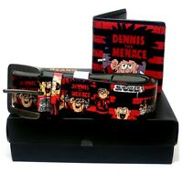 DENNIS THE MENACE STRIPE RED WALLET & BELT GIFT SET MENS THE BEANO XMAS GIFTS