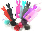 Soft Cute Rabbit Bunny Ears Tail Silicone Bumper Case Cover Skin For Iphone 4 4G
