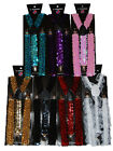 "Unisex Clip-on Braces Elastic Suspender ""Sequin Color"" Y- back Suspender"